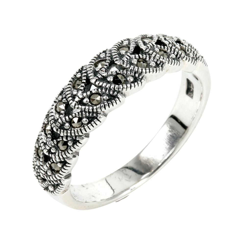 แหวนใบมะกอกนำโชค แหวนเงินแท้ประดับมาร์คาไซท์