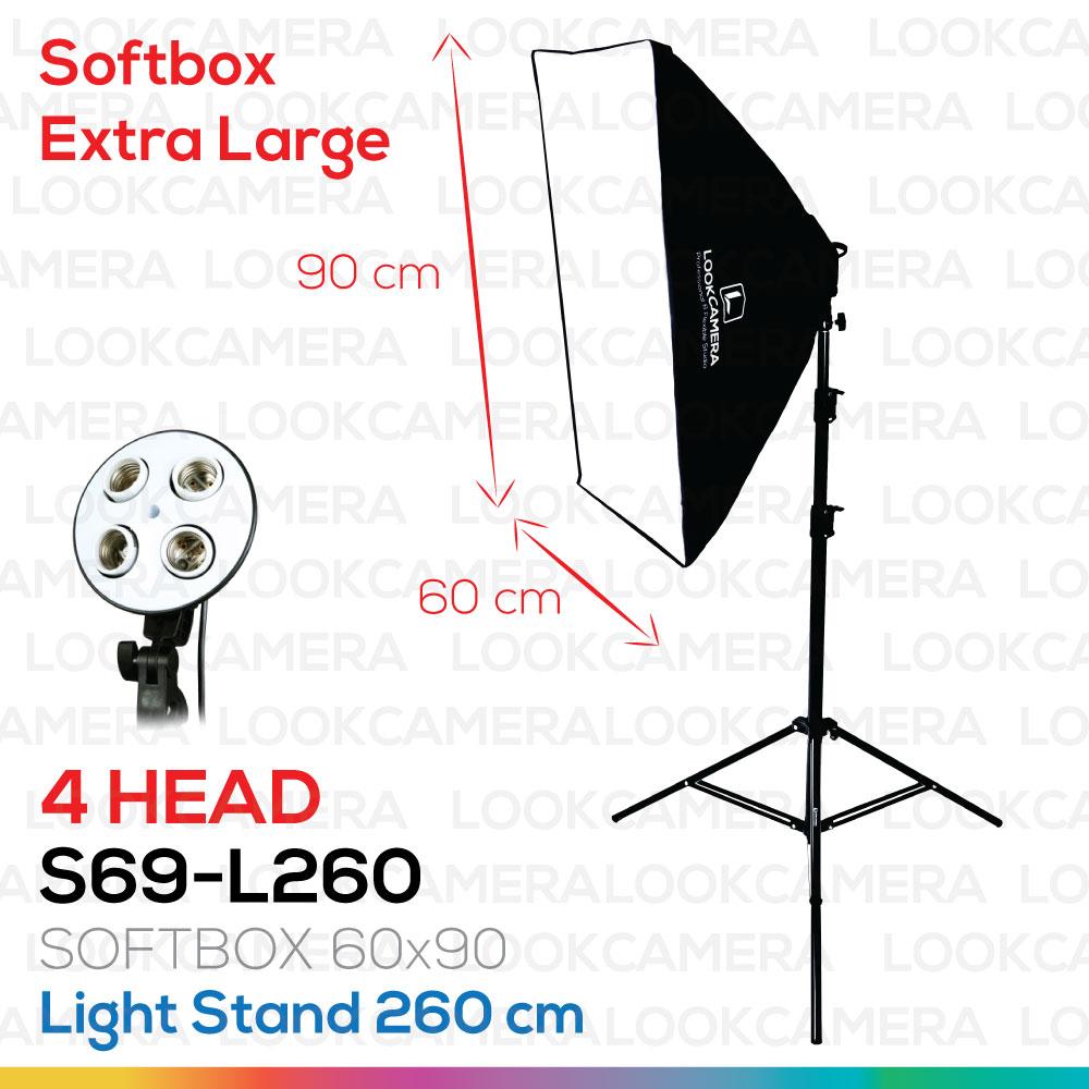 4 HEAD SOFTBOX6090 L260 ขนาด 60x90 ซม.ชุดไฟถ่ายภาพสินค้ากำลังสูง