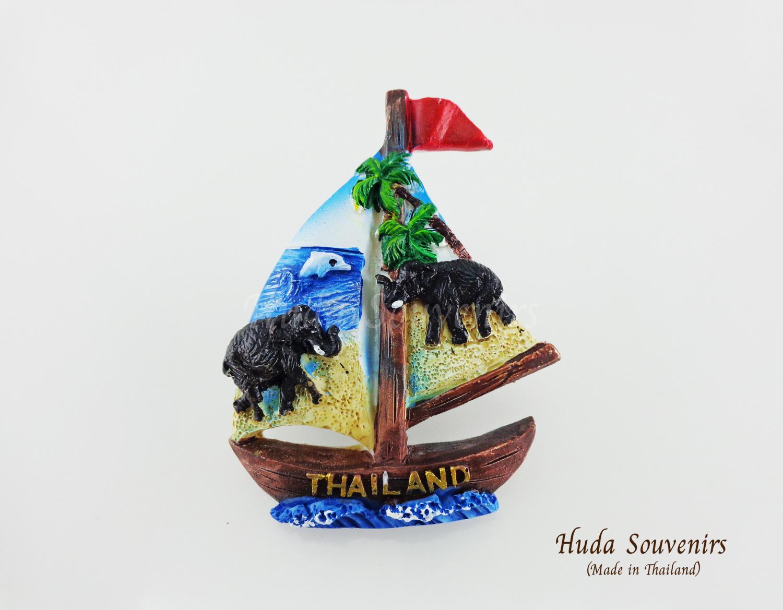 ของที่ระลึกไทย แม่เหล็กติดตู้เย็น ลวดลายชายหาด รูปทรงเรือใบ