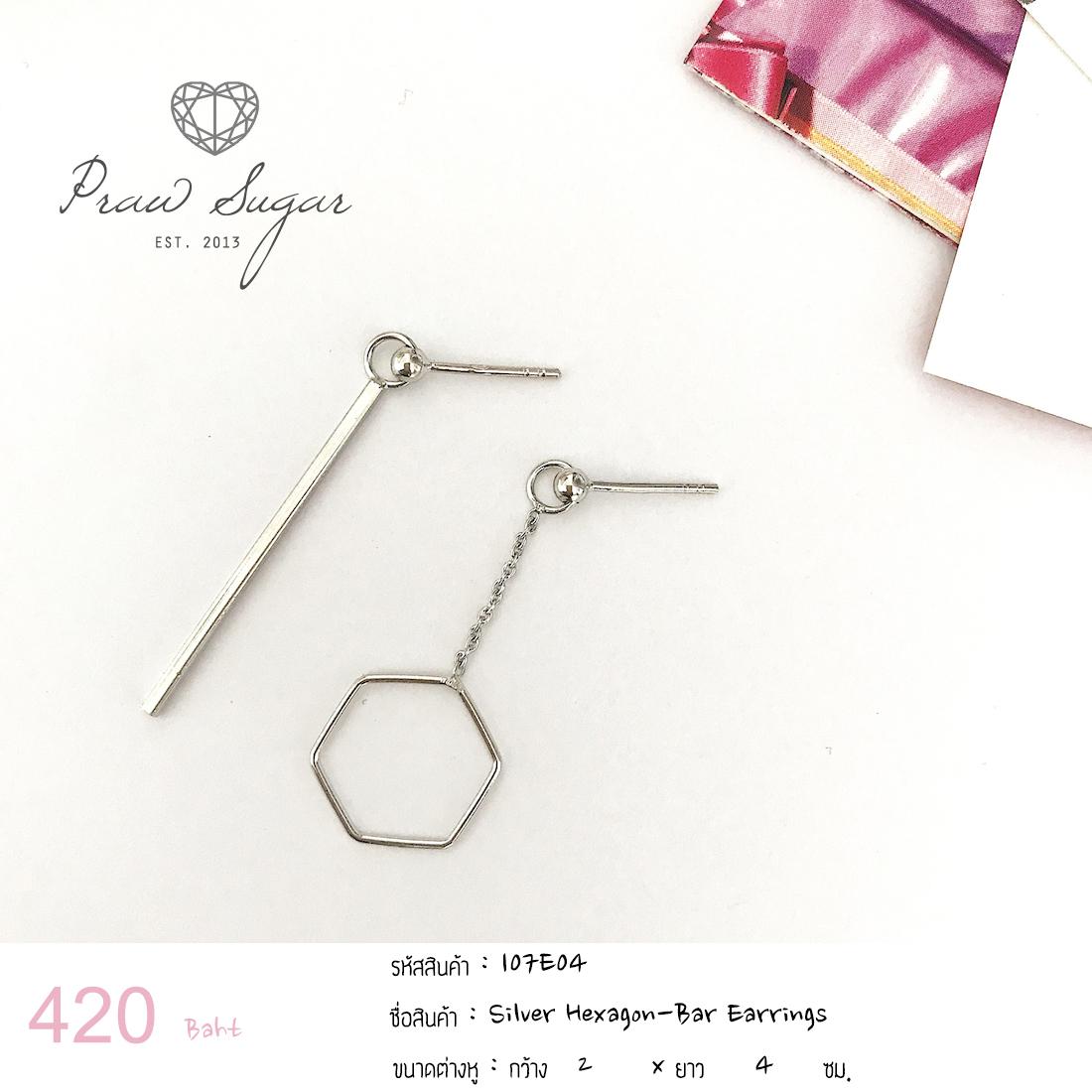 Silver Hexagon-Bar Earrings (เรือนทำจากเงินแท้)