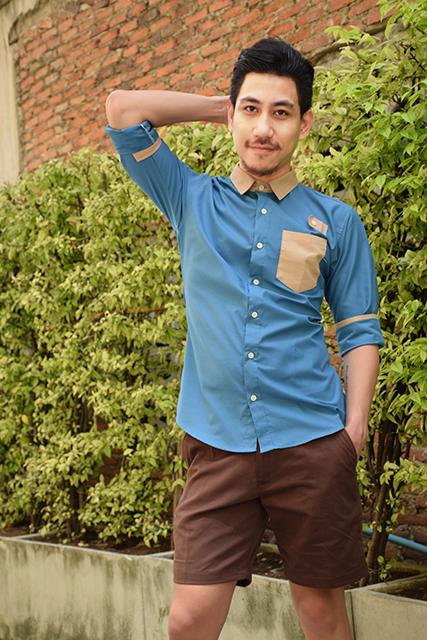 เสื้อเชิ้ตผู้ชาย รุ่นกระเป๋าลูกศร สีฟ้าน้ำทะเล