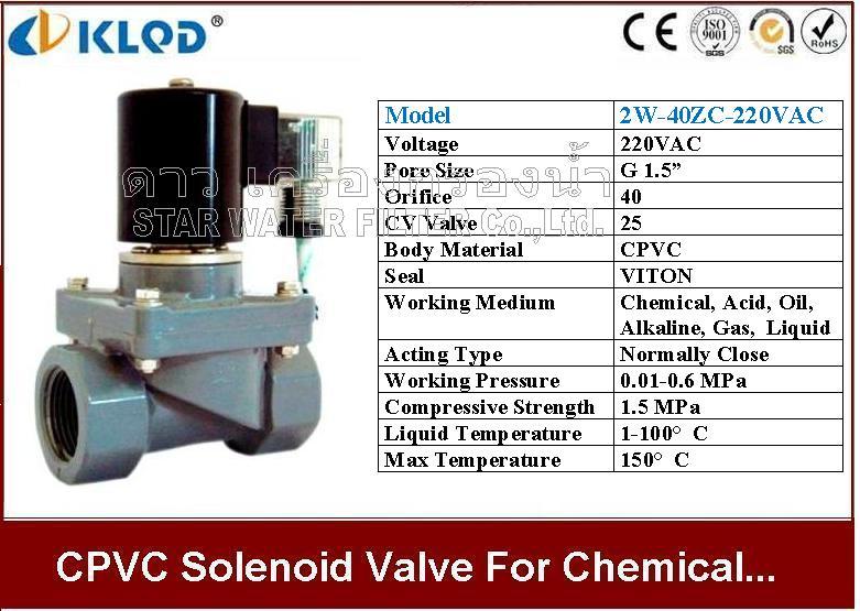 CPVC Solenoid valve ทนความร้อน และ สารเคมี 1.5 นิ้ว 220VAC KLOD