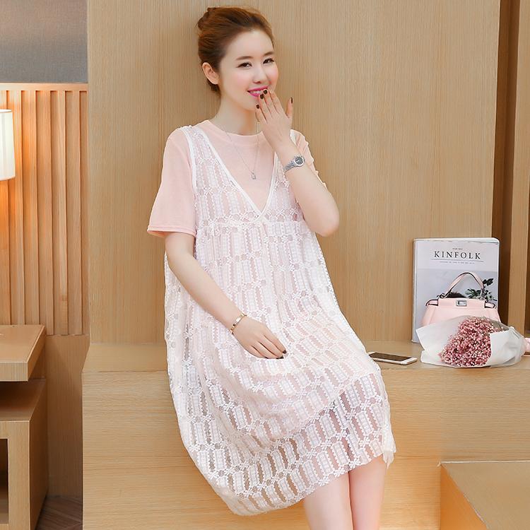 เดรสคลุมท้อง เดรสผ้ายืดสีชมพูโอรส + ชุดตัวนอกสีขาวผ้าลูกไม้ ผ้านิ่ม ไม่คัน ใส่สบาย น่ารักมากๆค่ะ