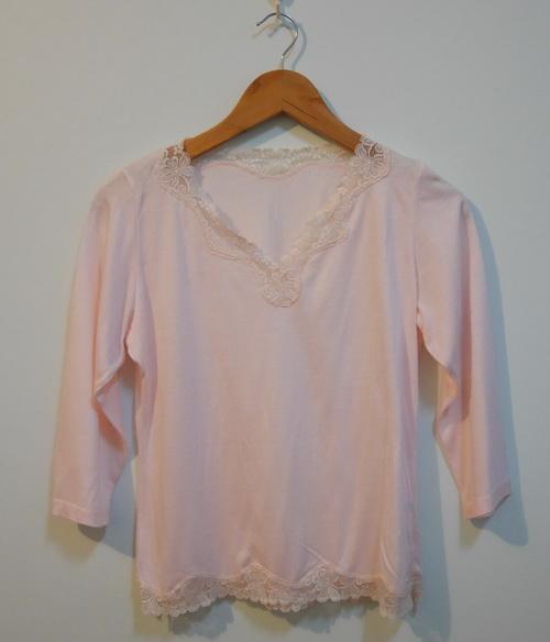 jp3615 เสื้อนอนผ้ายืดสีชมพูอ่อน รอบอก 34-38 นิ้ว
