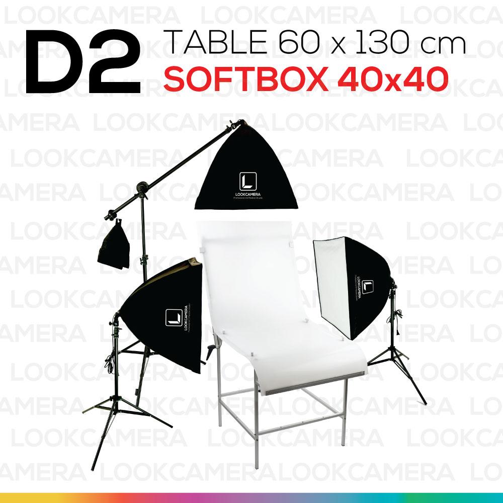 D2 โต๊ะถ่ายภาพสินค้าแบบปรับองศาได้ 60x130 + SOFTBOX 4040