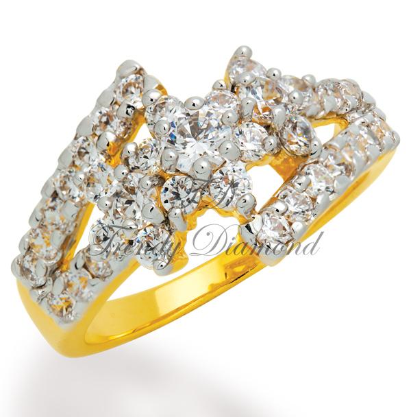 แหวนเพชรCZ เพชรสวิส A Flower สีทอง