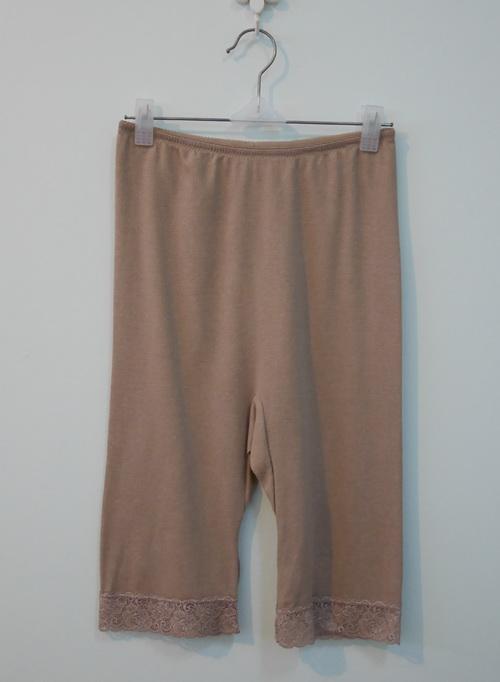 jp3834 กางเกงซับในผ้าไนลอน สแปนเด็กซ์ สีเนื้อเข้ม รอบเอว 24-29 นิ้ว