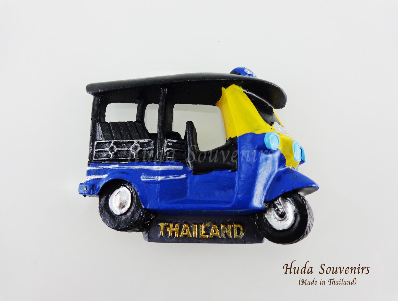 ของที่ระลึกไทย แม่เหล็กติดตู้เย็น ลวดลายรถตุ๊กๆ วัสดุเรซิ่น ปั้มลายนูน ลงสีสวยงาม