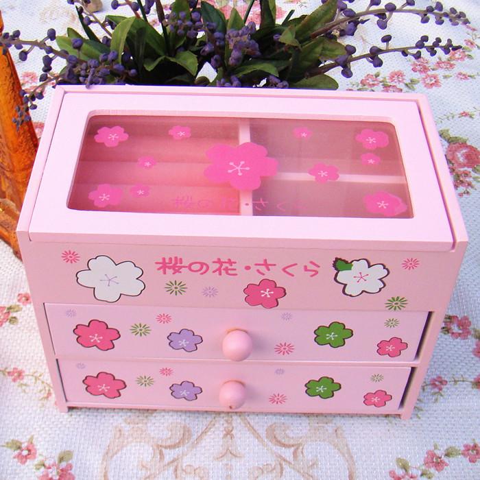กล่องเครื่องประดับ ลายดอกไม้สีชมพูน่ารัก