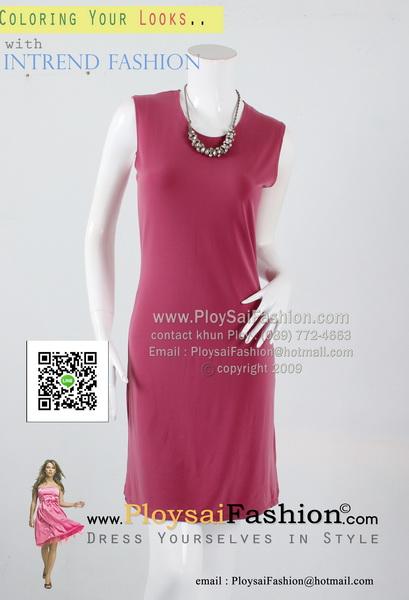 pd2624 - เดรสสั้น แขนกุดผ้าเกาหลีสีชมพูกลีบบัว สวยใส่สบายๆค่ะ