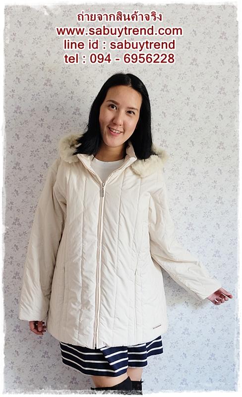 ca-2555 เสื้อโค้ทกันหนาวผ้าร่มสีครีม รอบอก46
