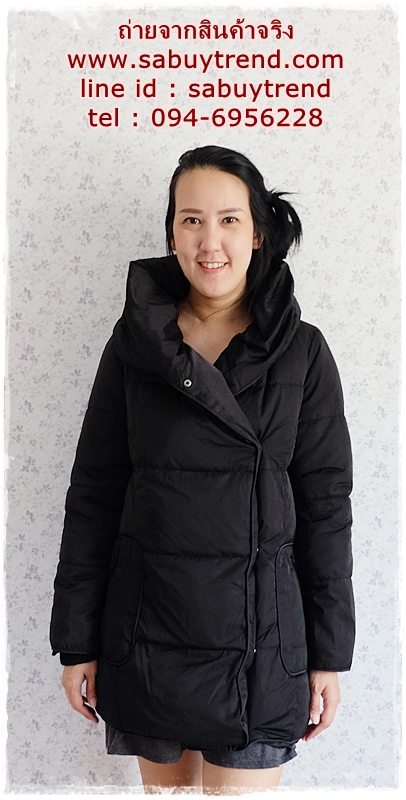 ((ขายแล้วครับ))((คุณNokจองครับ))ca-2906 เสื้อโค้ทขนเป็ดสีดำ รอบอก40