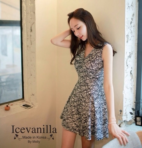 IceVanilla Romantic Ops Sensual Printing Dress