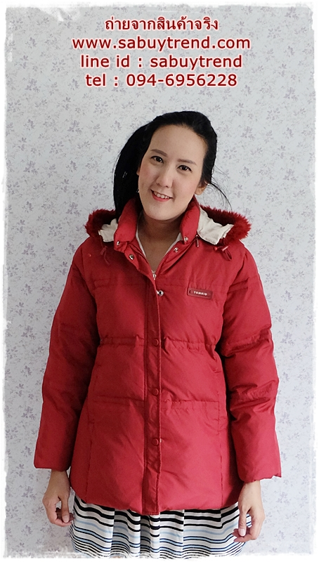 ((ขายแล้วครับ))ca-2773 เสื้อโค้ทขนเป็ดสีแดง รอบอก40