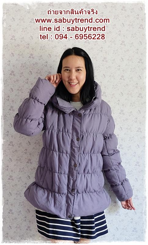 ((ขายแล้วครับ))((คุณรัตนาจองครับ))ca-2553 เสื้อโค้ทกันหนาวผ้าร่มขนเป็ดสีเทาคราม รอบอก42