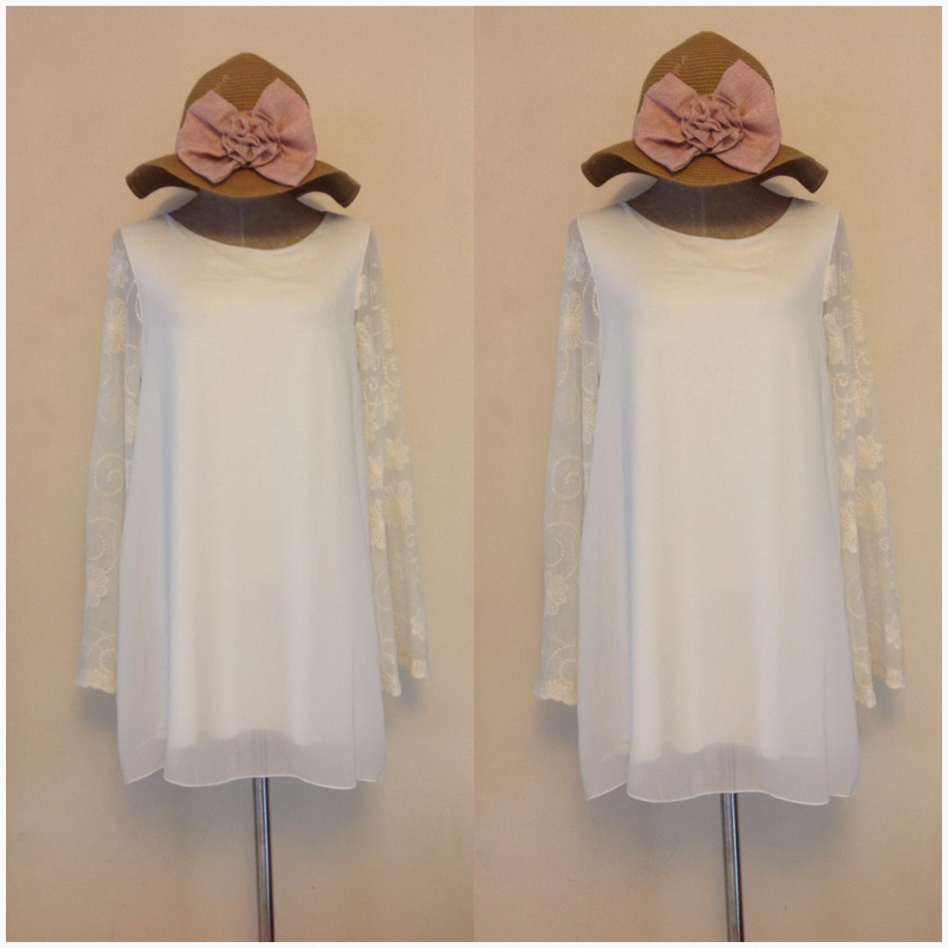 Topshop White Chiffon Lace Sleeve Dress Size uk12